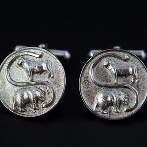Ralph Destino Sterling Silver Cufflinks Bull Bear
